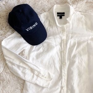 J.CREW white linen perfect long sleeve button up